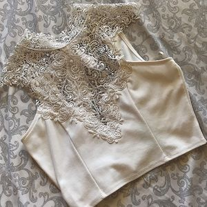 White Lace Sleeveless Crop Top with Back Bowtie
